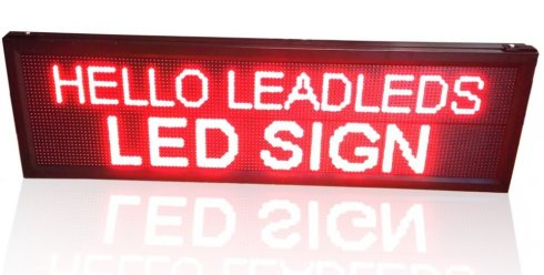 LED moving message display - red 136 x 40 cm