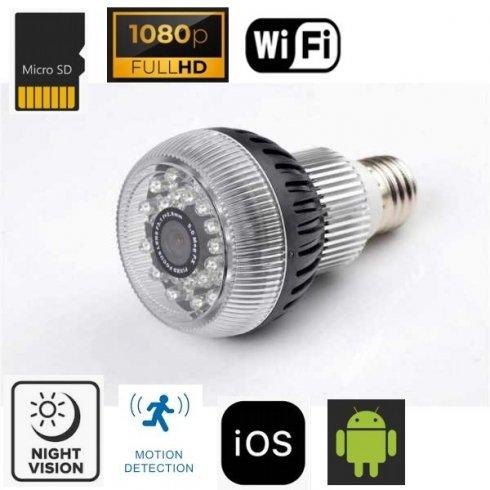 Шпионин на камерата с крушка с FULL HD + WiFi + 24x IR LED с ъгъл 120 °