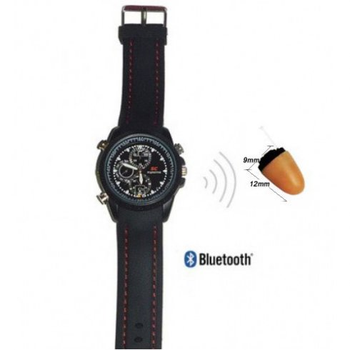 Wireless invisible earpiece Agent 008 + Bluetooth Watch