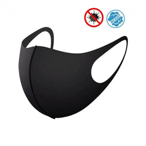 Ochronna maska na twarz NANO czarna - elastyczna (97% poliester + 3% elastan)