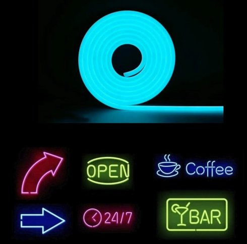 Flexible led strip lights ith IP68 protection 5M - Ice blue color