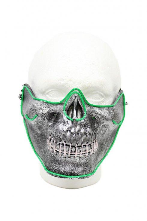 Masque de fête LED - crâne vert