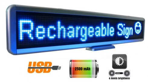 Portable LED panel with scrolling text 56 cm x 11 cm - blue