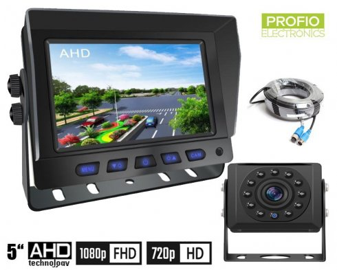 """Backup camera with monitor AHD/CVBS HD set - 5"""" Hybrid 2CH car monitor + 1x HD camera"""