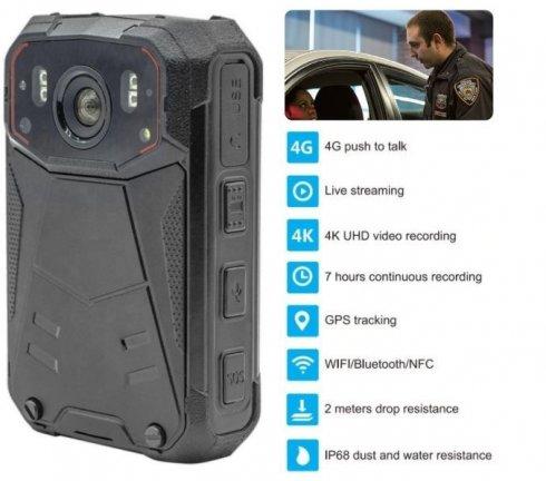 BODYCAM 4K-oppløsningskamera med 4G / NFC / WIFI / BT-støtte + 32 GB + IR-LED