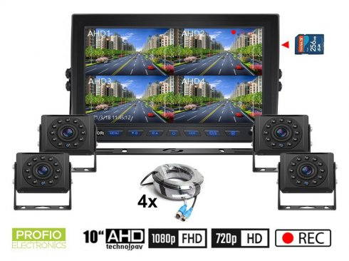 """AHD kamera stroja sa snimanjem na SD karticu - 4x HD kamera s 11 IR LED + 1x hibridni 10 """"AHD monitor"""