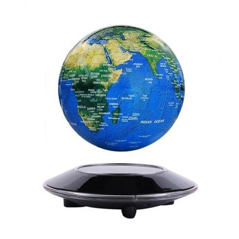 Levitacijski planet ZEMLJA (plavajoči globus) z LED podnožjem MODRA ZADNJA SVETLO