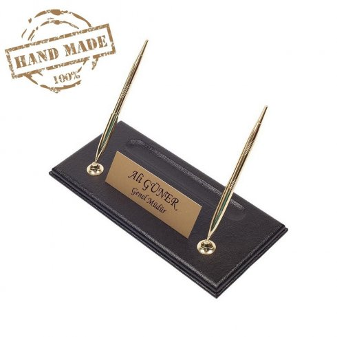 Handmade pen standblack leather base with gold nameplate + 2 gold pens