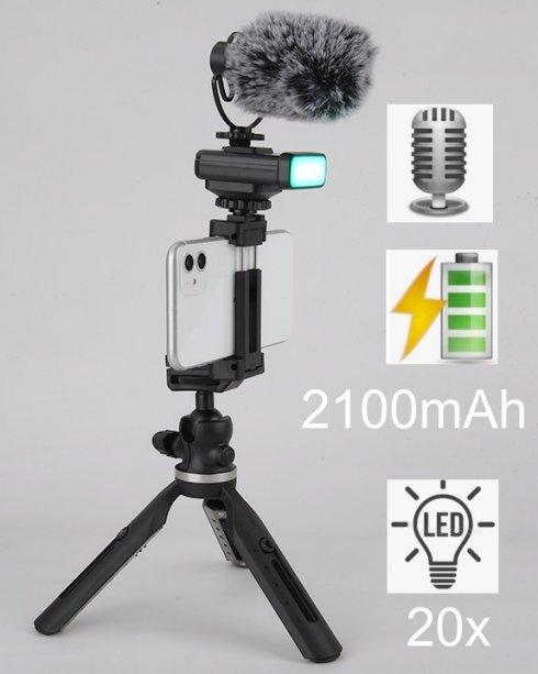 SET pro VLOGEROV - Tripod stativ pro smartphone s LED světlem a externím mikrofonem