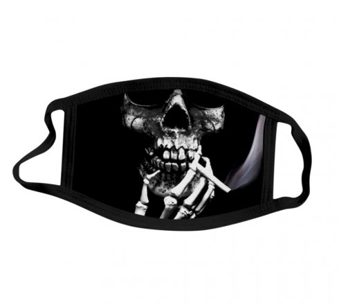 Protective face mask 100% polyester - Smoking skull