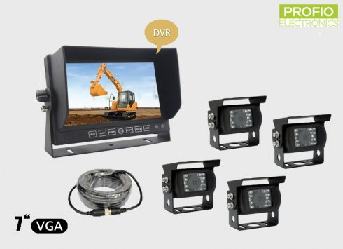 "Reversing set 7"" LCD monitor with recording + 4x waterproof camera with 150° angle"