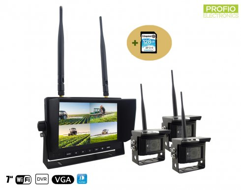 "Rear view camera SET - 3x Camera + 7"" monitor with capability of recording DVR (Audio + Video) + 128GB SDXC Card"