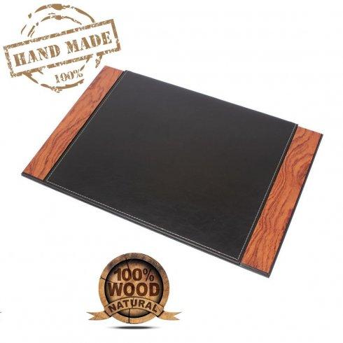 Secante de escritorio de cuero - Tapete de escritura de lujo (palo de rosa + cuero) hecho a mano
