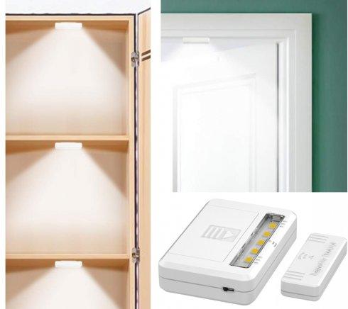 Luci a LED nell'armadio confezione da 2 + sensore magnetico - 2x batterie AAA da 1,5 V.