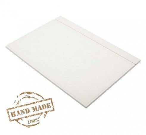 Tapis en cuir blanc pour bureau ou table de travail - Cuir luxueux