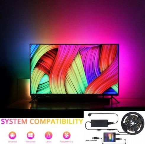 Iluminación AMBIENTE para TV y monitor - Juego completo de tira de LED 3M