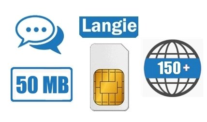 LANGIE rechargeable SIM with 50MB (data + tel) for translation in 150 countries worldwide