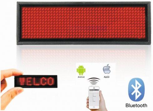 LED névjelvény Bluetooth programozható okostelefonon keresztül - RED 9,3 cm x 3,0 cm