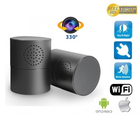 Stereo Bluetooth speaker with FULL HD WiFi camera and 330° rotary lens