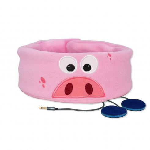 Pink children headband with headphones - Piggy