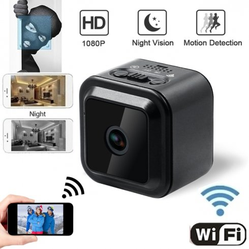 Mini Full HD kamera Wifi s 120° uhlom + Extra výkonné IR LED až do 10 metrov
