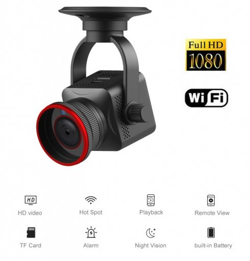 Vohunska mini kamera s kotom 150 ° + 6 IR LED z FULL HD + WiFi (iOS / Android)