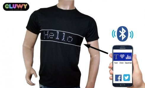 T-shirt LED avec texte programmable via Smartphone - GLUWY