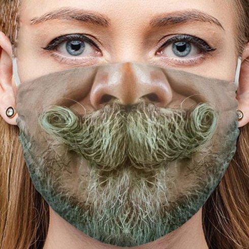 男性用フェイスマスク3Dウォッシャブル-あごひげを生やした口ひげ