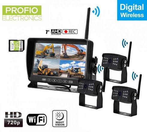 """Parkovacia kamera s monitorom bezdrotovas nahravaním na SD - 3xAHD wifi kamera + 7"""" LCD DVR monitor"""