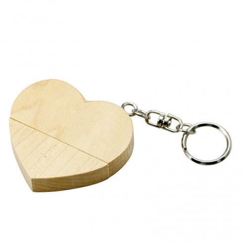 USB Flash Drive in the shape of a wooden heart