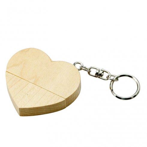 USB Flash Drive alakú fából készült szív