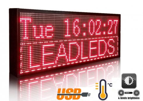 Promotional LED board with moving text - 76 cm x 27 cm red