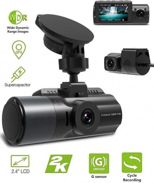 3 kanálová kamera do auta s GPS (predná/zadná/vnútorná)s 2K + Parkovací mód -Profio S12