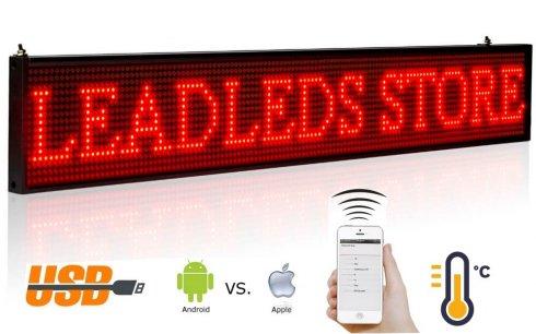 Pantalla LED de texto con soporte iOS y Android 66 cm x 9,6 cm - rojo
