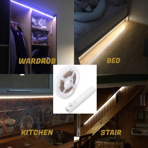 LED strip 1M for kitchen, bed, staircase with motion sensor for 4xAAA batteries - PACK
