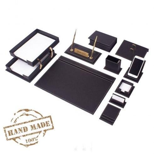 Doplněk kancelář - luxusní kožený SET 14 ks na psací stůl (Černá kůže)