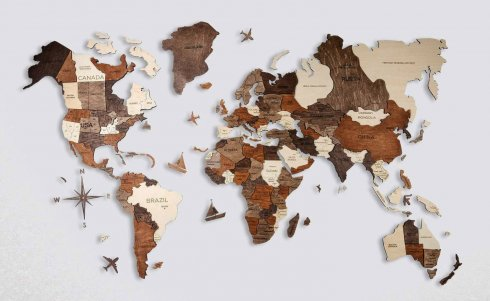 3D World map on the wall - wooden map 100 cm x 60 cm