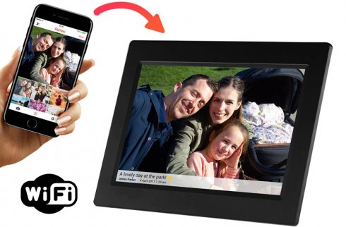"Social photo frame 10.1"" with WiFi and 8GB memory - online photo sending"