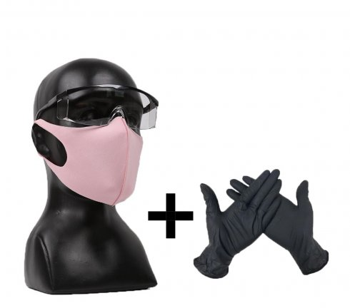 PINKY LADY SET - Nano face mask + safety goggles + protective gloves