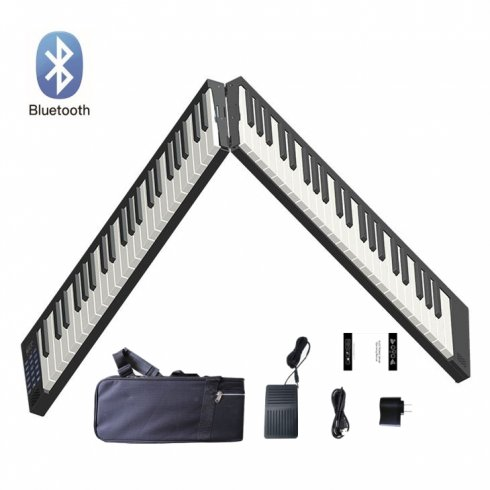 Faltbare Tastatur (Klavier) tragbar zusammenklappbar 130 cm + 88 Tasten + BT + Li-Ion + Stereolautsprecher