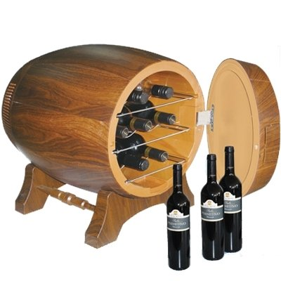 Small wine fridge in the shape of barrel - 20L/7 bottles