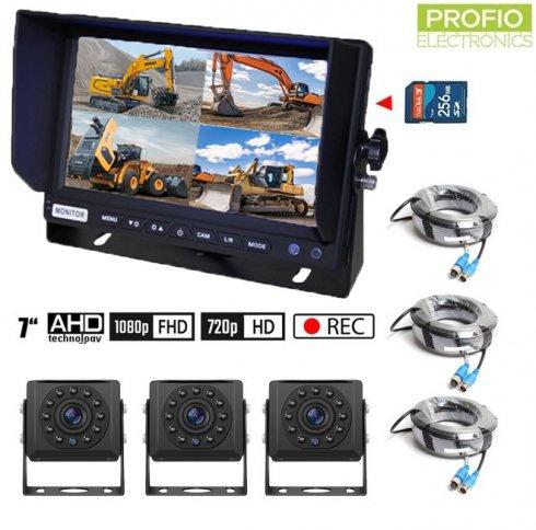 """Set na cúvanie AHD s nahrávaním na SD kartu - 3x AHD kamera s 11 IR LED + 1x Hybridný 7"""" AHD monitor"""