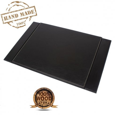 Luxus-Schreibmatte aus schwarzem Leder + mit Holzsockel (handgefertigt)