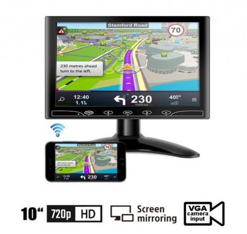 """10"""" Mirror Link monitor do autaWiFi LCD multifunkčný - VGA, HDMI a AV vstup pre 2 kamery"""