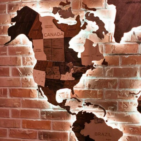 Drvena zidna karta mape svijeta 3D s RGB LED osvjetljenjem - veličina 200cm x 120cm