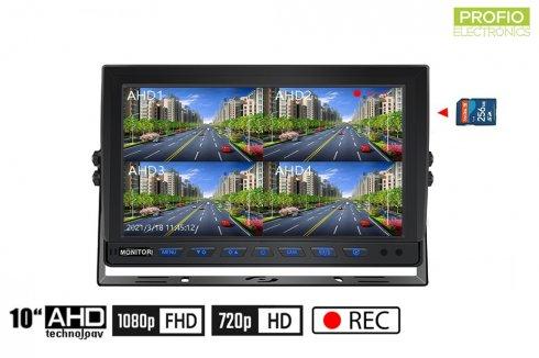 10インチモニターハイブリッド4-CH、AHD / CVBS、4台のカメラ用のマイクロSDカード(最大256 GB)への記録