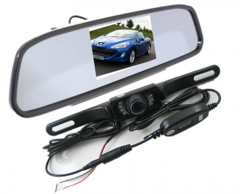 "Rearview Mirror with 4,3"" display + wifi backup camera"