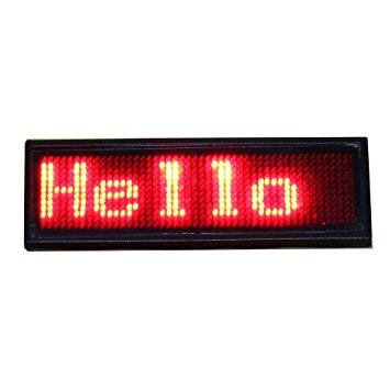 LED name badge - Red 9,3 cm x 3,0 cm