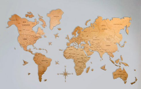 Wall painting World map - color light wood 200 cm x 120 cm