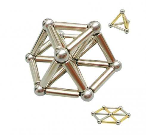 Magnetic NeoCube rods with balls - gold and silver